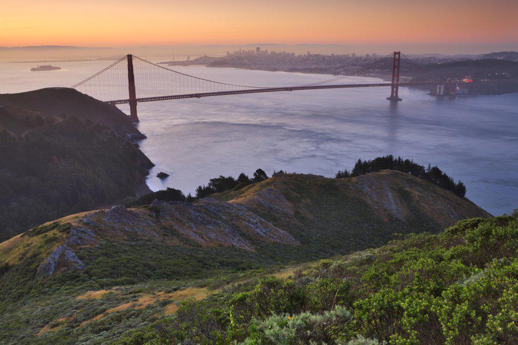 Stock Photo: 4097-561B Suspension bridge across the sea, Golden Gate Bridge, San Francisco Bay, San Francisco, California, USA