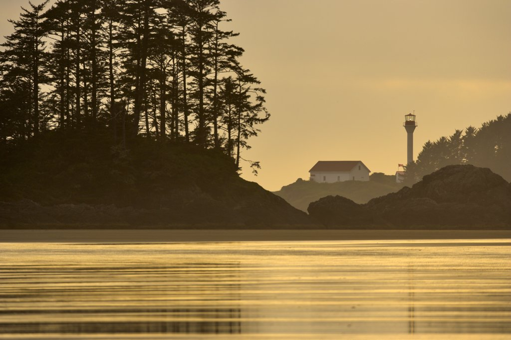 Lighthouse on a hill at dusk, Pacific Rim National Park Reserve, British Columbia, Canada : Stock Photo