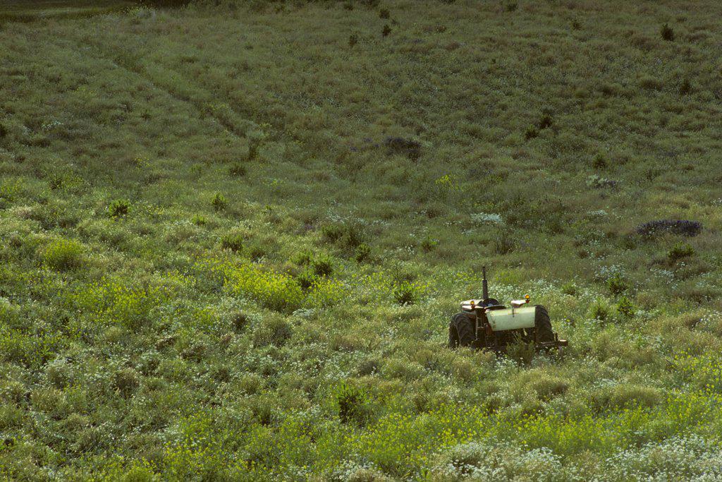 Stock Photo: 4097-799 Tractor in a field, Saanich Peninsula, Victoria, British Columbia, Canada