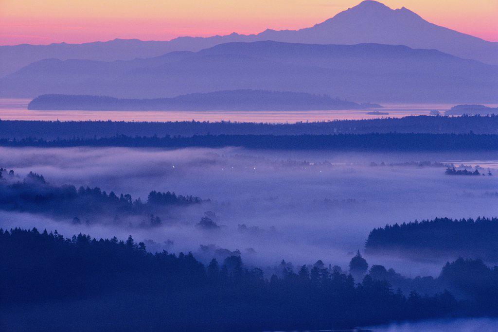 Mountain peak viewed from Malahat, Mt Baker, Finlayson Arm, Saanich Peninsula, Vancouver Island, British Columbia, Canada : Stock Photo