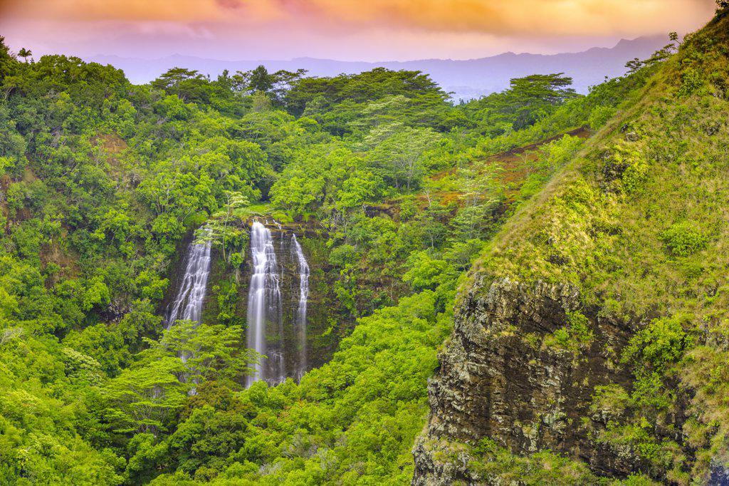 Stock Photo: 4097-987 Waterfall in a forest, Opaekaa Falls, Wailua Valley, Kauai, Hawaii, USA