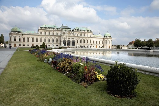 Pond in front of a palace, Belvedere Palace, Vienna, Austria : Stock Photo
