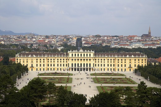High angle view of a palace, Schonbrunn Palace, Vienna, Austria : Stock Photo
