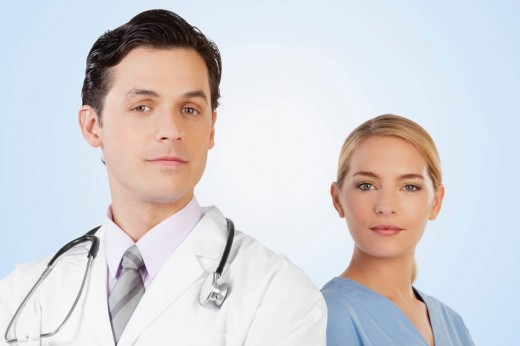 Stock Photo: 4105-2081 Portrait of a doctor and a nurse