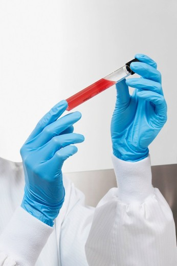 Doctor holding a medical sample in a laboratory : Stock Photo