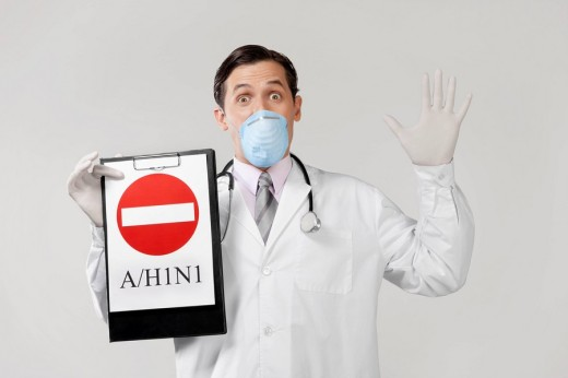 Stock Photo: 4105-4032 Doctor wearing a flu mask and showing Do Not Enter sign