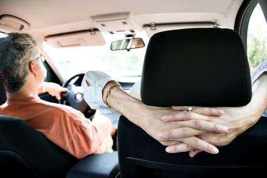Couple on a road trip in car : Stock Photo
