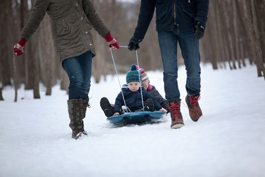 Parents pulling their children on a sled, Traverse City, Grand Traverse County, Michigan, USA : Stock Photo