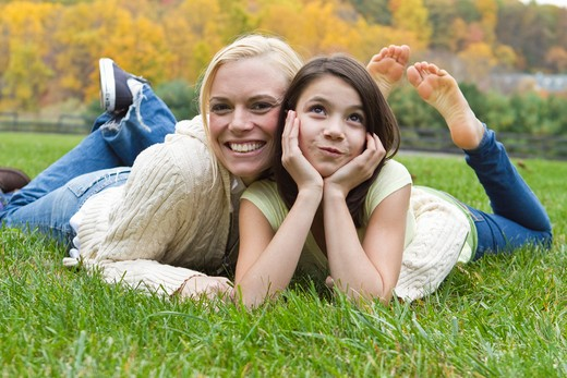 Stock Photo: 4113-203 Portrait of mother and daughter lying on grass