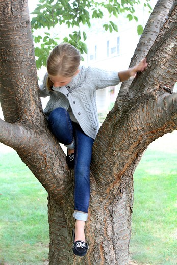 Girl sitting on a tree in a park : Stock Photo