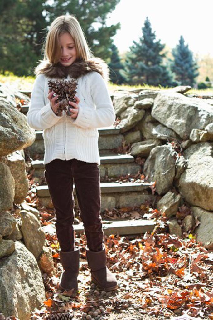 Portrait of girl holding pinecones : Stock Photo