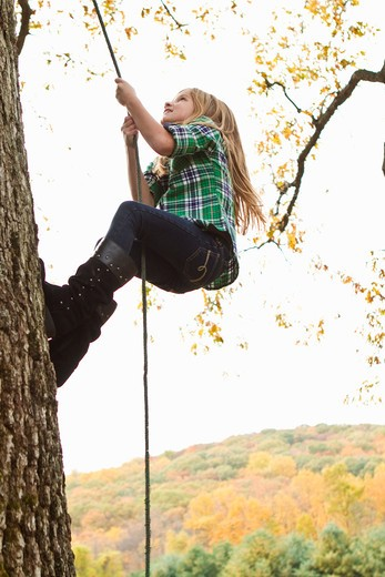 Stock Photo: 4113R-195A Girl climbing up tree