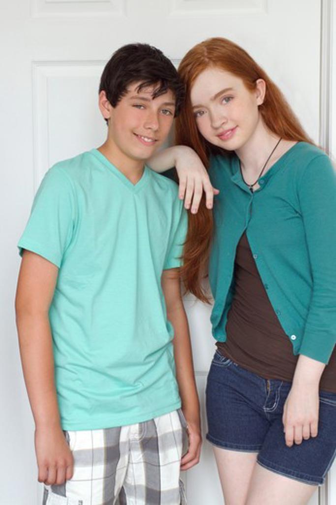 USA, New York City, Manhattan, Portrait of Teenage couple : Stock Photo