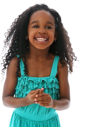 Stock Photo: 4113R-284 Studio shot portrait of girl in turquoise dress smiling