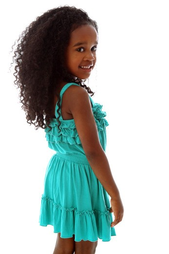 Stock Photo: 4113R-285 Studio shot of girl in turquoise dress