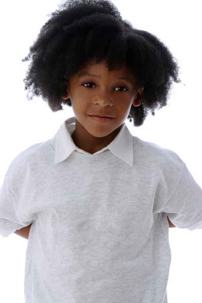 Stock Photo: 4113R-293 Studio shot portrait of boy slightly smiling