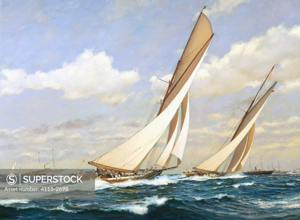 Stock Photo: 4115-2698 Columbia leads Shamrock. America's Cup, October 20th 1899.'  Oil on canvas, 30' x 40', 2002 . The third and final race for the America's Cup of 1899