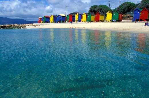 Stock Photo: 4115-1069 Colourful beach huts at St James Beach, False Bay, Cape Town, South Africa.