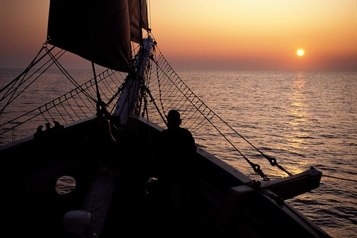 Watching the sun set from the bow of 'Gazella'. : Stock Photo