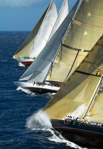Close racing between the schooner 'Windrose', and the two J-Class yachts 'Ranger' and 'Velsheda' (from left) at Antigua Classic Yacht Regatta, Caribbean, 2004. Property Released (Ranger and Velsheda). : Stock Photo