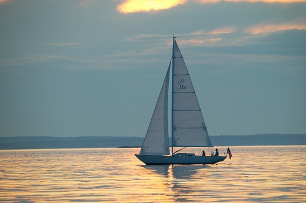 Stock Photo: 4115-1521 Sparkman & Stephens designed Morris 36 sailing under the late afternoon sun, Maine, USA