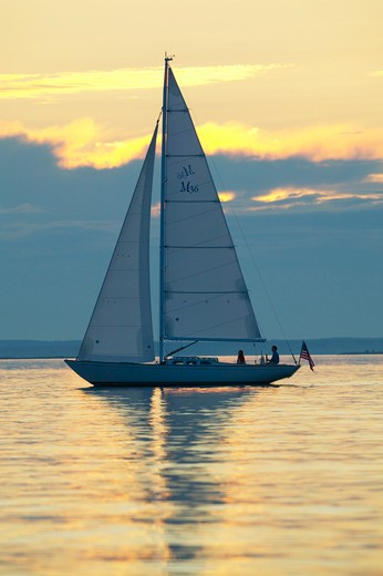 Stock Photo: 4115-1553 A Sparkman & Stephens designed Morris 36 sailing under the late afternoon sun, Maine, USA