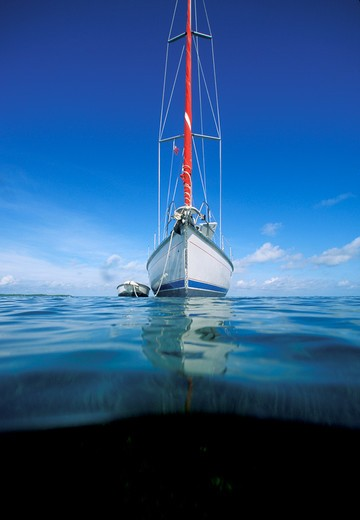 Stock Photo: 4115-1664 Cruising yacht at anchor, the Bahamas