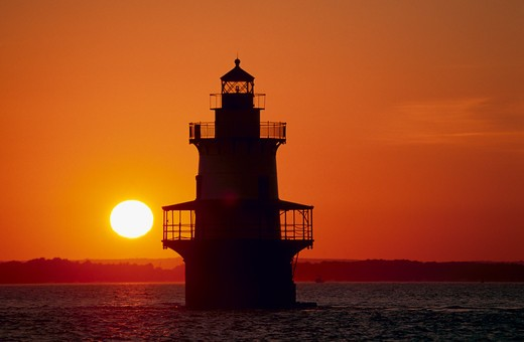 Stock Photo: 4115-1773 Silhouette of Hog Island Lighthouse at sunset, Bristol, Rhode Island, USA.