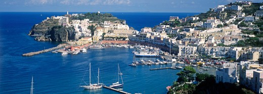 View of Ponza town and port, Ponza Island, Bay of Naples, Italy. : Stock Photo