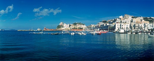 Waterfront on the Mediterranean island of Ponza, Bay of Naples, Italy. : Stock Photo