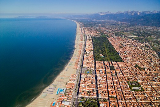 Aerial view of the beach resort of Viareggio, Tuscany, Italy. The sea is the Tyrrhenian, part of the Mediterranean. : Stock Photo