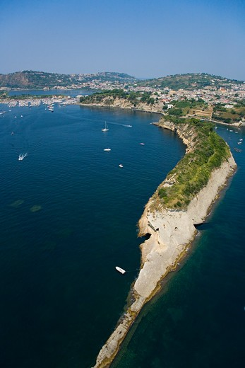 Stock Photo: 4115-1969 Aerial view of the Tirrenian coast between Bacoli and Baia (Pozzuoli), near Naples, Campania region, Italy.
