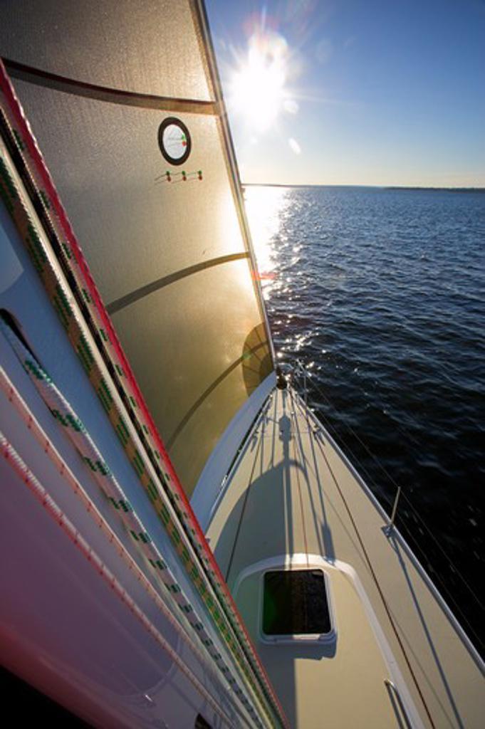 Stock Photo: 4115-1984 J124 yacht sailing on Naraggansett Bay, Rhode Island, USA.