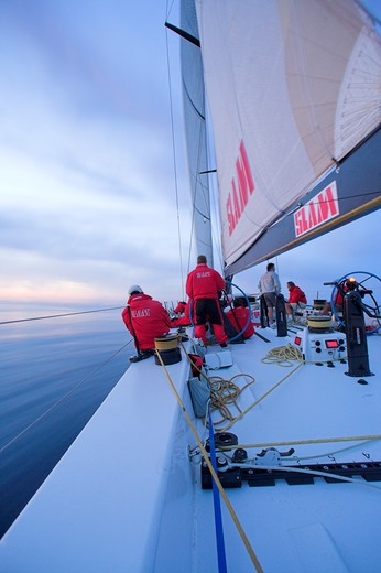 Stock Photo: 4115-2062 Sailing at dawn onboard 'Maximus' during the 2006 Newport to Bermuda race.