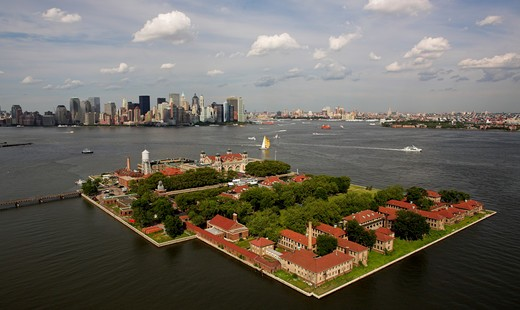 Aerial view of New York harbour, USA. : Stock Photo