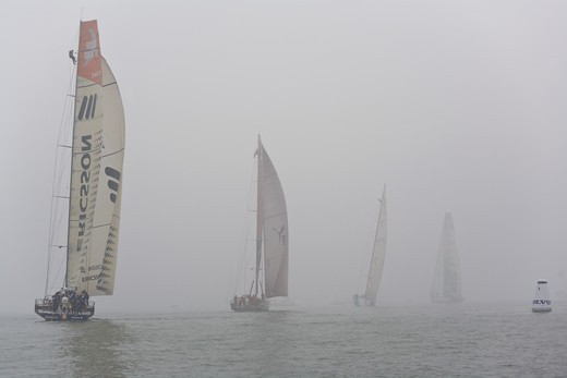 Stock Photo: 4115-2465 In-port race in Quingdao, China, cancelled due to windless conditions and too much fog. Volvo Ocean Race 2008-09.