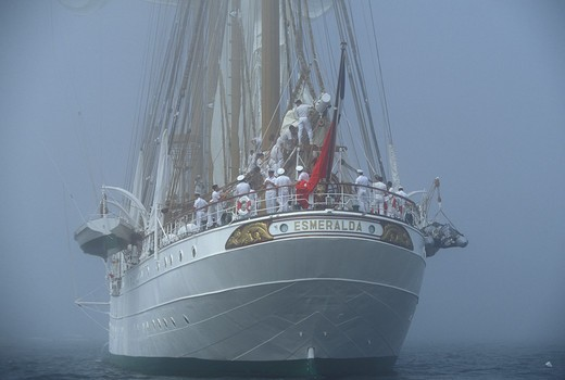 Chilean tall ship 'Esmeralda' in Newport fog, Rhode Island, USA. : Stock Photo