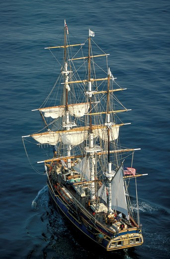 Tall ship 'Bounty' motoring in calm conditions off Newport, Rhode Island, USA : Stock Photo