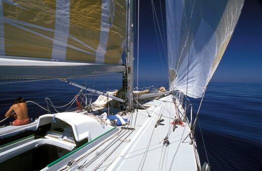 The Card experiences some windless conditions during the Whitbread Round the World Race, 1989. : Stock Photo