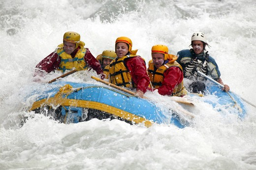 Stock Photo: 4115-3050 White water rafting, Shotover River, Queenstown, New Zealand.
