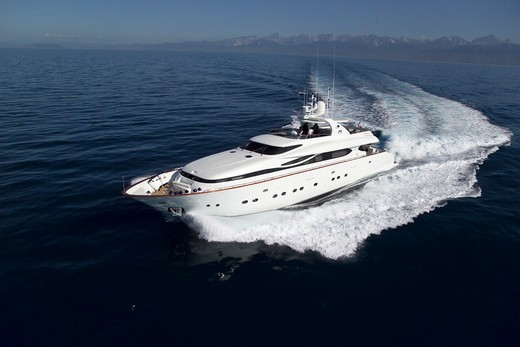 Stock Photo: 4115-3189 Luxurious 35-metre Gaia motoryacht, from the Cantieri Maiora boathouse, cruising along the coast of Viareggio, Italy.