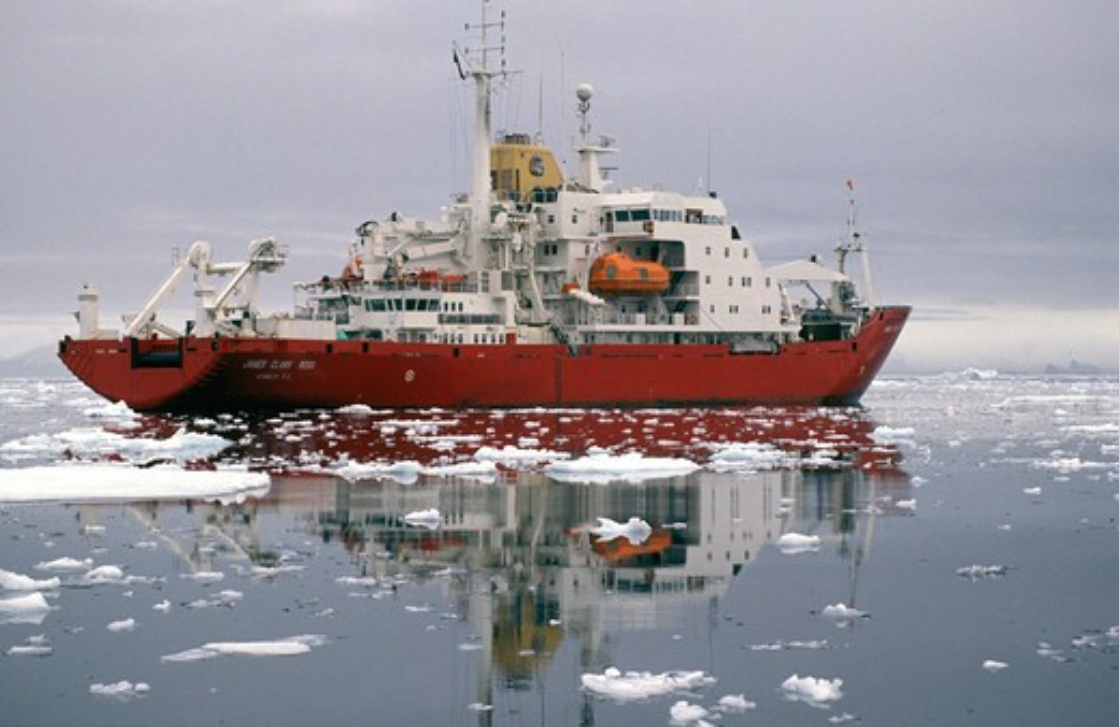James Clark Ross', Antarctic supply and survey ship, Antarctica. : Stock Photo