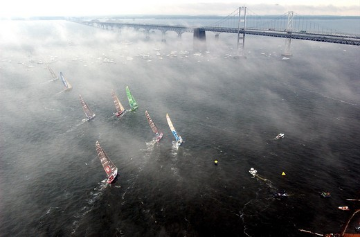 Stock Photo: 4115-3491 Start of leg 7 of the Volvo Ocean Race by the Bay Bridge, Baltimore USA to La Rochelle France, 2001-2002.