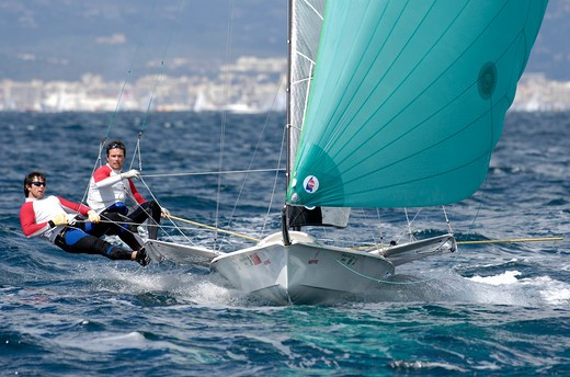 Stock Photo: 4115-3581 49er 'IRL25' with Russell McGovern and Matt McGovern for Ireland during the Princess Sofia Regatta, Olympic Classes and Dragons Racing in Palma Majorca, Spain, 2007.