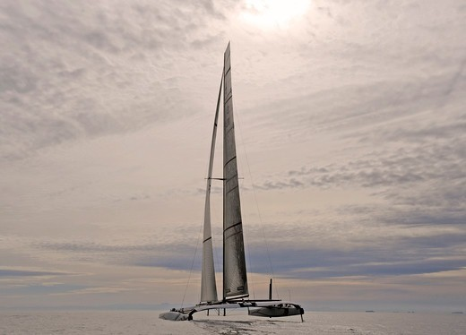 Stock Photo: 4115-3617 90ft catamaran 'Alinghi 5' training prior to the first race of the 33rd America's Cup, Valencia, Spain. February 2010.