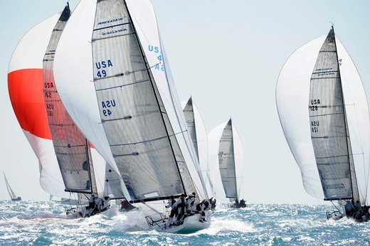 Melges 32 'Full Throttle' racing with the fleet, Miami Grand Prix, Florida, USA. March 2010. : Stock Photo