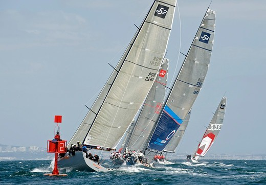 Bigamist' and 'Team Origin 1851', Audi Med Cup offshore race, Cascais to Lisbon, Portugal, May 2010. : Stock Photo