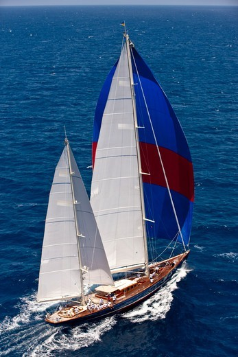 Classic ketch 'Rebecca' at the Panerai Antigua Classic Yacht Regatta, Caribbean, April 2010. : Stock Photo
