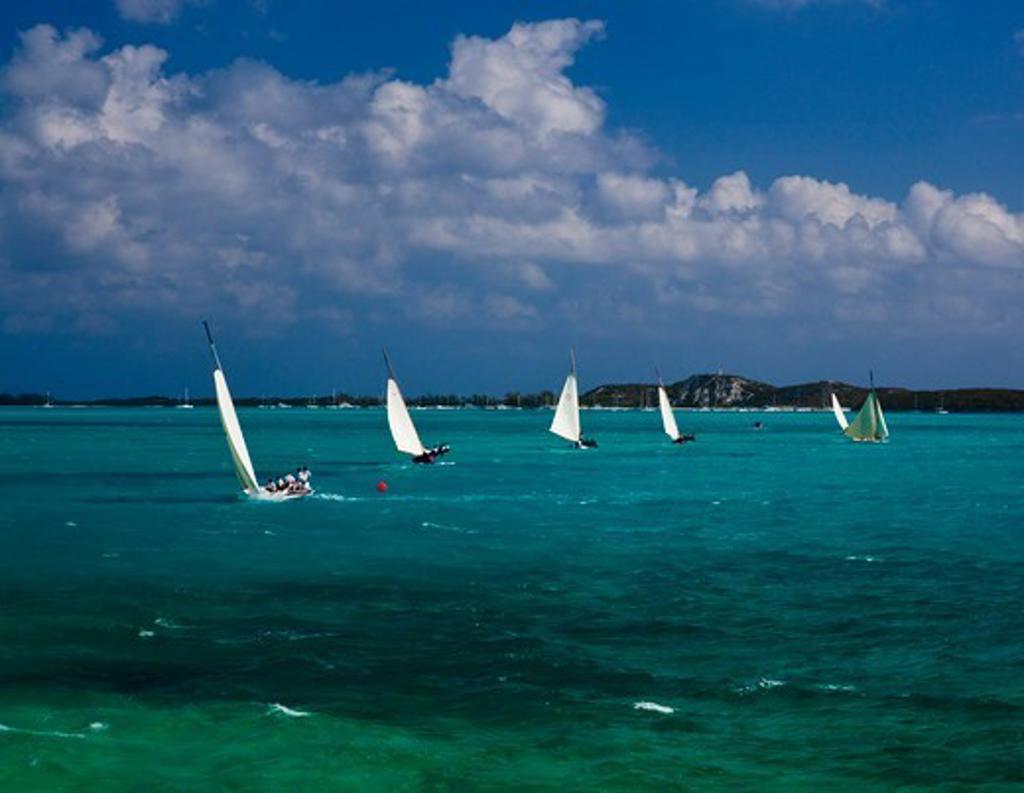 Fleet racing during the Bahamian Sloop regatta, Georgetown, Exumas, Bahamas. April 2009. : Stock Photo