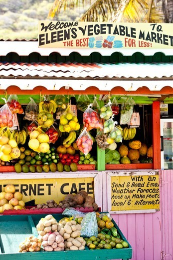 Fruit and vegetable stall in market, Grenadines, Caribbean, February 2010. : Stock Photo
